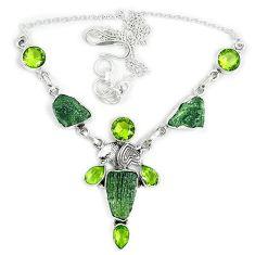 Natural green moldavite (genuine czech) 925 sterling silver necklace j37053