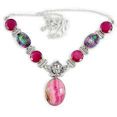 925 silver natural pink rhodochrosite inca rose (argentina) necklace j37060