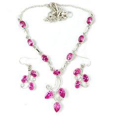 Pink kunzite (lab) 925 sterling silver earrings necklace set j39184