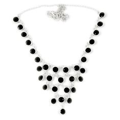 925 sterling silver natural black onyx round necklace jewelry j39187