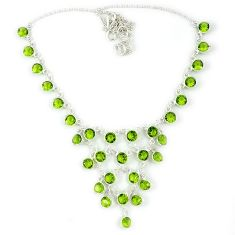 Green peridot quartz round 925 sterling silver necklace jewelry j39189