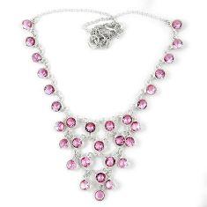 Pink kunzite (lab) round 925 sterling silver necklace jewelry j39191