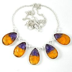Multi color ametrine (lab) pear 925 sterling silver necklace jewelry j39193