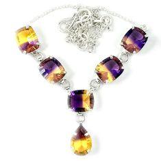 Multi color ametrine (lab) 925 sterling silver necklace jewelry j39197