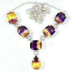 Multi color ametrine (lab) 925 sterling silver necklace jewelry j39198