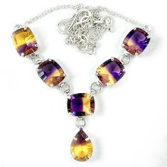 925 sterling silver multi color ametrine (lab) pear necklace jewelry j39199