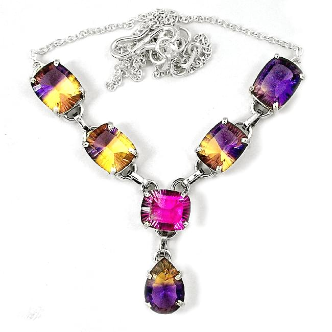 19.5 inch Multi Tourmaline Garnet 925 Solid Sterling Silver Necklaces Silver Jewelry