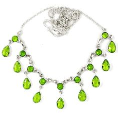 Green peridot quartz pear 925 sterling silver necklace jewelry j39201