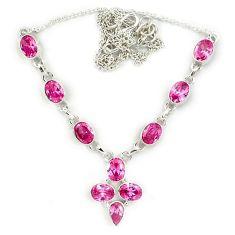 925 sterling silver pink kunzite (lab) oval necklace jewelry j39217