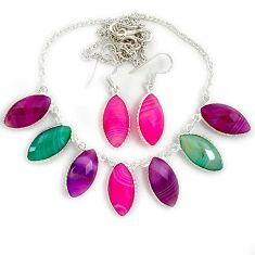 Natural pink botswana agate marqusie 925 silver earrings necklace set j39220