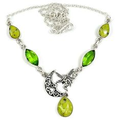 Natural yellow lizardite (meditation stone) 925 sterling silver necklace j39238