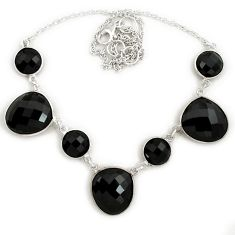 Natural black onyx round 925 sterling silver necklace jewelry j39243