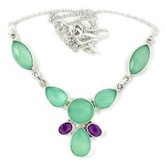 925 sterling silver natural aqua chalcedony purple amethyst necklace j39250