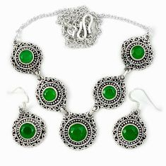 Natural green chalcedony round 925 silver necklace earrings necklace set j39256