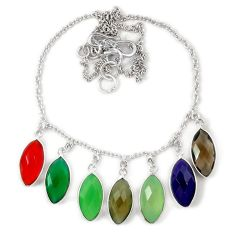 925 sterling silver natural green chalcedony multi gemstone necklace j39263