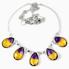 Multi color ametrine (lab) pear 925 sterling silver necklace jewelry j39268