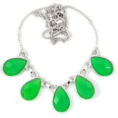 Natural green chalcedony pear 925 sterling silver necklace jewelry j39274
