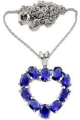 5.05cts natural blue iolite 925 sterling silver necklace jewelry j44065