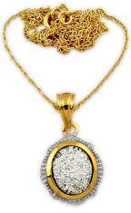 3.97cts silver platinum druzy 925 sterling silver 14k gold necklace j44071
