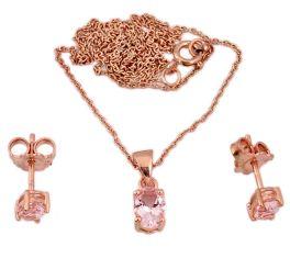 3.60cts natural pink morganite 925 sterling silver 14k gold necklace j44079