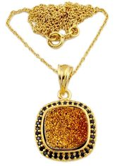 5.85cts gold druzy spinel 925 sterling silver necklace jewelry j44080