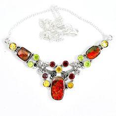 925 sterling silver natural ammolite (canadian) peridot garnet necklace j51924