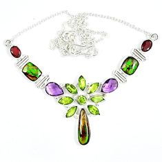 925 silver natural ammolite (canadian) peridot amethyst garnet necklace j51927