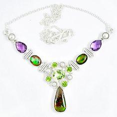 Natural ammolite (canadian) green peridot amethyst 925 silver necklace j51928