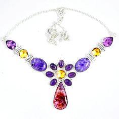 Cacoxenite super seven (melody stone) charoite 925 silver necklace j51929