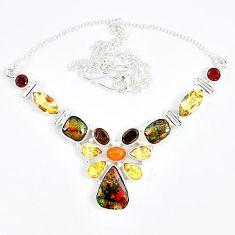 Natural multi color ammolite citrine smoky topaz 925 silver necklace j51930