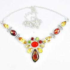 Natural ammolite (canadian) peridot garnet citrine 925 silver necklace j51933