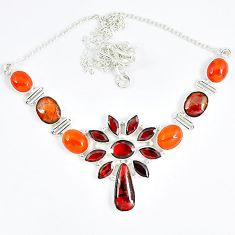 925 sterling silver natural ammolite (canadian) carnelian garnet necklace j51934