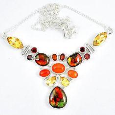 Natural ammolite (canadian) garnet citrine 925 sterling silver necklace j51937
