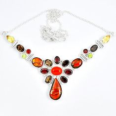 925 silver natural ammolite (canadian) smoky topaz garnet necklace j51938
