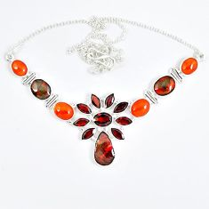 925 sterling silver natural ammolite (canadian) carnelian garnet necklace j51939