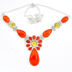 Natural orange carnelian yellow citrine 925 sterling silver necklace j51949