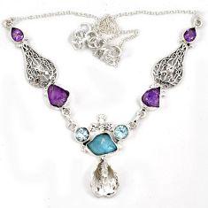 Natural aqua aquamarine rough amethyst rough topaz 925 silver necklace j6865