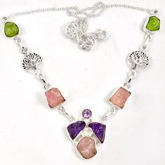 Natural pink morganite rough amethyst rough 925 sterling silver necklace j6867