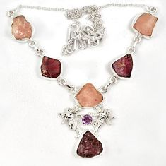 Natural red garnet rough morganite rough 925 silver necklace jewelry j6868