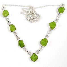 Natural green peridot rough fancy 925 sterling silver necklace jewelry j6869