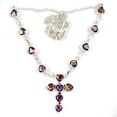 Multi color ametrine (lab) 925 sterling silver holy cross necklace jewelry j6871
