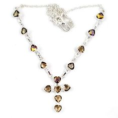 Holy cross multi color ametrine (lab) 925 sterling silver necklace jewelry j6874