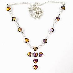 Multi color ametrine (lab) 925 sterling silver holy cross necklace jewelry j6877