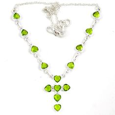 Natural green parrot peridot 925 sterling silver cross necklace jewelry j6878