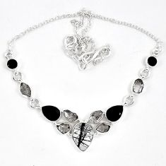Natural black tourmaline rutile 925 sterling silver necklace jewelry k17220