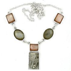 925 sterling silver natural grey meteorite moonstone necklace jewelry k27362