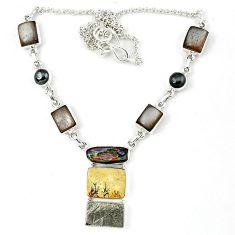 Natural grey meteorite biwa pearl 925 sterling silver necklace jewelry k27363