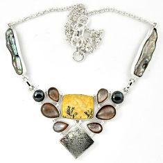 925 silver grey meteorite moonstone titanium pearl biwa pearl necklace k27364