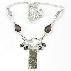 Natural grey meteorite herkimer diamond moonstone 925 silver necklace k27365