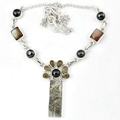 925 silver grey meteorite rainbow moonstone titanium pearl necklace k27366